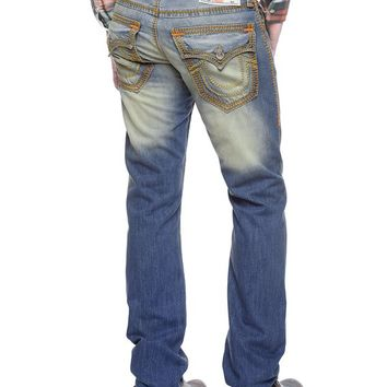 True Religion Hand Picked Straight Mega T Mens Jeans - Tribal Song