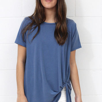 Get Twisted Comfy Short Sleeve Basic {Denim Blue}