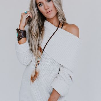 Lina Off The Shoulder Sweater - Ivory