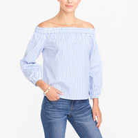 Indigo dobby off-the-shoulder top