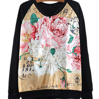 Black Floral Print Zipper Up Sweatshirt