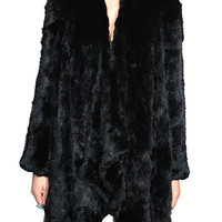 Ashleigh Rabbit Fur Coat - Black