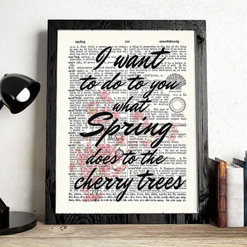 Cherry Tree Printable Knowledge. Dictionary Page Art Quotes for wall. Printable Wall Art. A3 print Pablo Neruda Quote