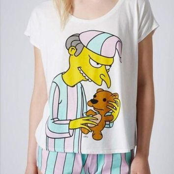 CREYCI7 2017 women pajama sets with cute mr burns printed pyjamas sweet candy color stripped Simpson for ladies