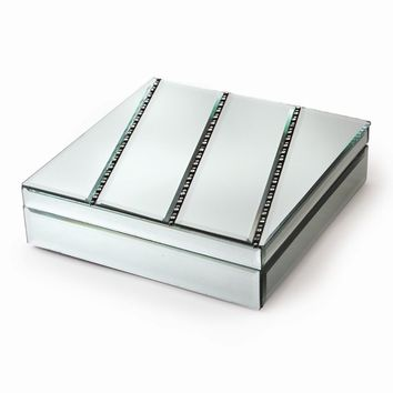 Square Mirror Glass & Crystal Jewelry Box