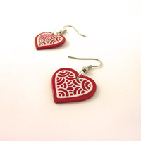 Recycled CD Earrings : Red hearts with white scrolls - by Savousepate
