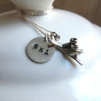 "Skiing necklace with sterling silver hand stamped ""ski"" charm and silver ski and boots charm"