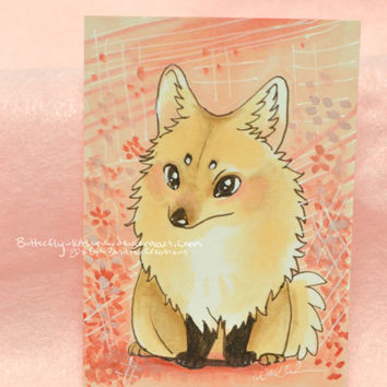 SALE Pomeranian Copic Marker Original Drawing ACEO