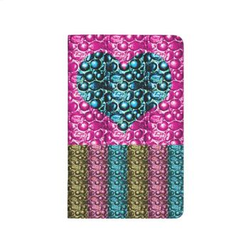 Pink and Blue Glam Heart Stripe Lined Journal