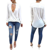 White Twist Plunge White Tops with Sleeves