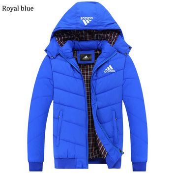 ADIDAS 2018 autumn and winter new plus velvet warm hooded cardigan down jacket royal blue