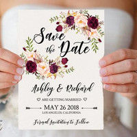 Printable Boho Floral Save the Date Template Editable Rustic Burgundy Marsala Blush Peonies Save the Date card Templates Edit with TEMPLETT
