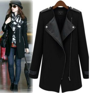 Zipper Button Detail Long Lapel Coat