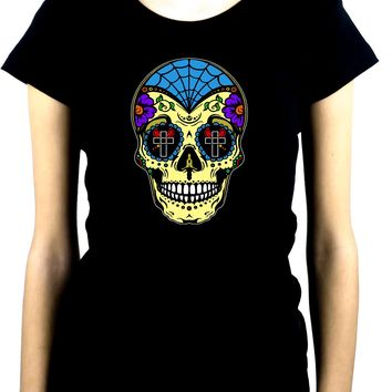 "Yellow Sugar Skull Calavera Women's Babydoll Shirt ""Dia De Los Muertos"" Day of the Dead"