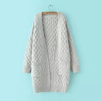 Twist Knitted Sleeve Pocket Coat
