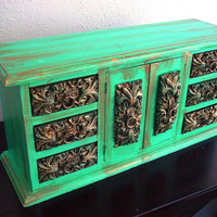 Large Vintage Teal/Green Wooden Jewelry Box / Cabinet (One Of A Kind)