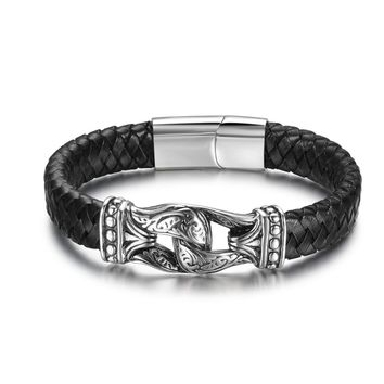Handmade Leather Weaved Man Bracelets Bangles Stainless Steel Casual/Sporty Bicycle Motorcycle Cool Men Jewelry(BA101883)