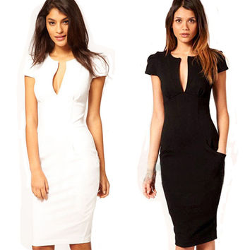 Summer Charming Sexy Pencil Dress Celebrity Style Fashion Pockets Knee-length Bodycon Slim Business