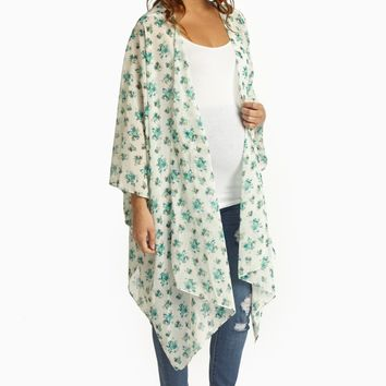 White Teal Floral Sheer Maternity Maxi Cardigan