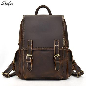 """School Backpack Big Capacity Men Backpack Crazy Horse Leather 14"""" Laptop rucksack daypack genuine cow leather  bags male mochila AT_48_3"""