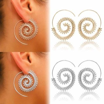 Boho Spiral Brass Gypsy Drop Spiral Earrings Tribal Ethnic Indian Hoops