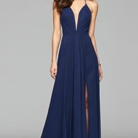 Shop V-Neck Full Skirt Chiffon Evening Dress | Faviana Style 7747