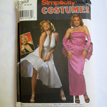 Simplicity Pattern Costume Marilyn Monroe Dress Hollywood Movies Blonde 7 Year Itch 8393 Size 16 18 20 UNCUT