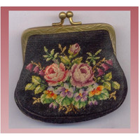 Victorian Petit Point Change Purse Vintage Needlepoint Roses Coin Purse Tapestry Coins Pouch Bag Antique Estate Edwardian NeedleWork Purse