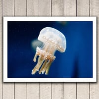 Fine art photography, ocean photography, ocean art, nature photography, jellyfish underwater blue marine art wall decor photography print