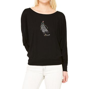 Rhinestones   Lucky Feather   Boat Neck T-Shirt. Made by Lucky Gambler