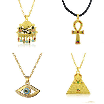 Ankh Pendant Cross Pyramid Evil Eye Of Horus Egyptian Jewelry Male Necklace Gold Plated Chain Men