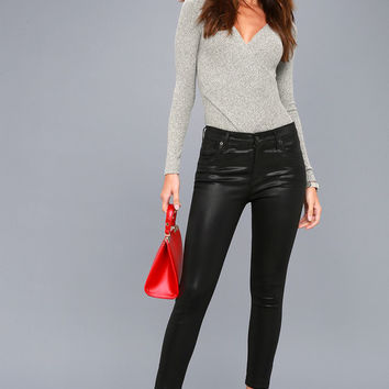 Sophie High Rise Black Vegan Leather Pants