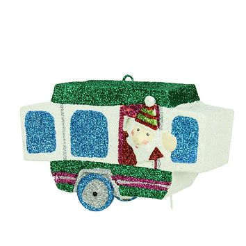 "4.25"" Santa Waving from a Glitter Drenched Vacation Camper Decorative Christmas Ornament"