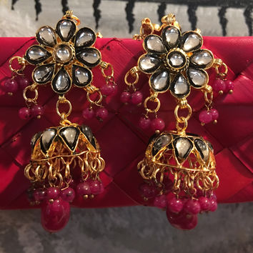 Kundan Jhumka Earrings over the Ears
