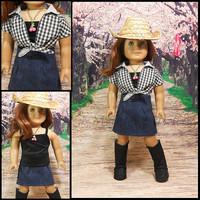 "American Girl Doll Clothes Western Outfit Denim Skirt 3 PC Black White Checks ""Country Girl"""