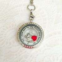 Large 30mm stainless steel locket Aunt I love you to the moon and back