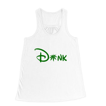 Dank Cartoon Mouse Green Typography Flowy Racerback Tank Top