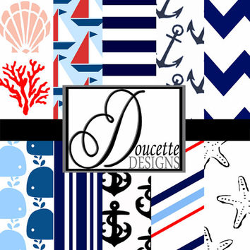 Instant Download-Nautical Coastal Seashore Digital Scrapbooking Paper Pack Personal and Commercial Use