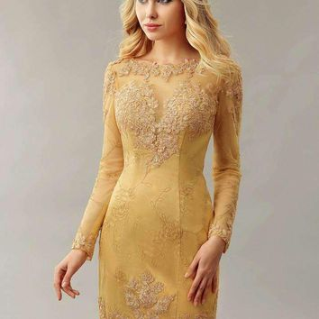 Gold Sheath Fitted Lace Homecoming Cocktail dresses Long Sleeves Mini Informal Women Partydressphotos