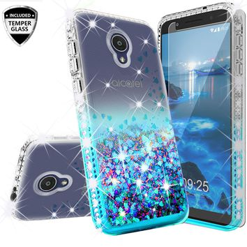 Alcatel 1x Evolve Case Liquid Glitter Phone Case Waterfall Floating Quicksand Bling Sparkle Cute Protective Girls Women Cover with Temper Glass for 1x Evolve - Teal
