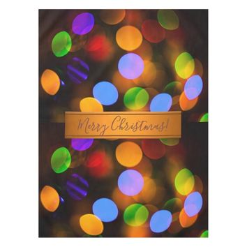 Multicolored Christmas lights. Add text or name. Tablecloth