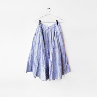 Bohemian 1970's White and Blue Navy stripe printed super big gore skirt (M) Sunny day - Beach holiday wear - swing skirt