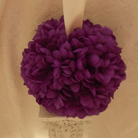 Purple Flower Girl Pomander- Wedding Kissing Ball -Reception Decor- Basket Alternative