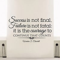 WALL DECAL VINYL STICKER WINSTON CHURCHILL QUOTE SUCCESS IS BEDROOM DECOR SB42