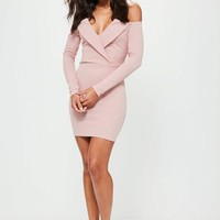 Missguided - Pink Bardot Foldover Wrap Dress