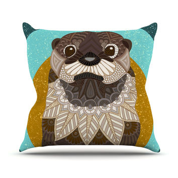 "Art Love Passion ""Otter in Water"" Blue Brown Throw Pillow"