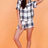 Plaid PJ Set - Ivory/Blue