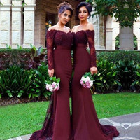 Burgundy Mermaid Long Bridesmaids Dresses 2017 Appliques Party dress Long Sleeve Prom Party dresses