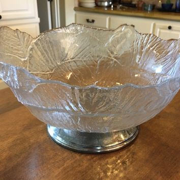 "VTG Godinger Frosted Textured Glass Silver CRYSTAL LEAF 13"" Salad Serving Bowl"