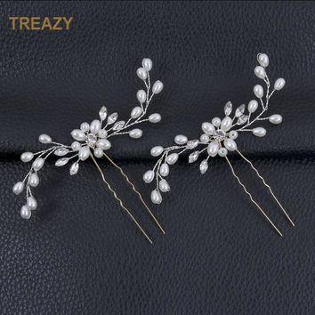 2Pcs Bridal Crystal Pearl Flower Hair Pins Wedding Party Pageant Hairpins Bridesmaid Bride Headpiece Hair Jewelry Accessories
